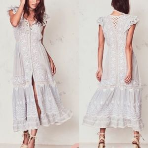 LoveShackFancy Valentina Embroidered Midi Dress